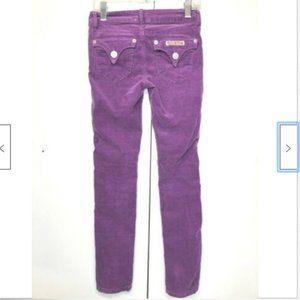 Hudson Girls Purple Corduroy Skinny Jeggings 7